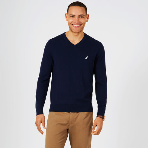 Big & Tall Jersey V-Neck Sweater - Navy