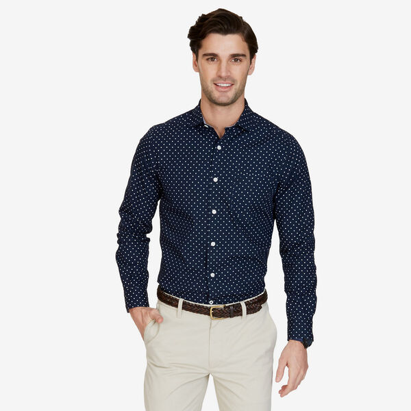 Big & Tall Circle Print Short Sleeve Shirt - Peacoat