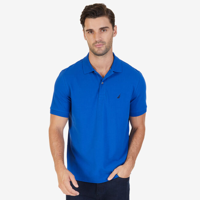 Classic Fit Cooling Performance Polo Shirt,Monaco Blue,large