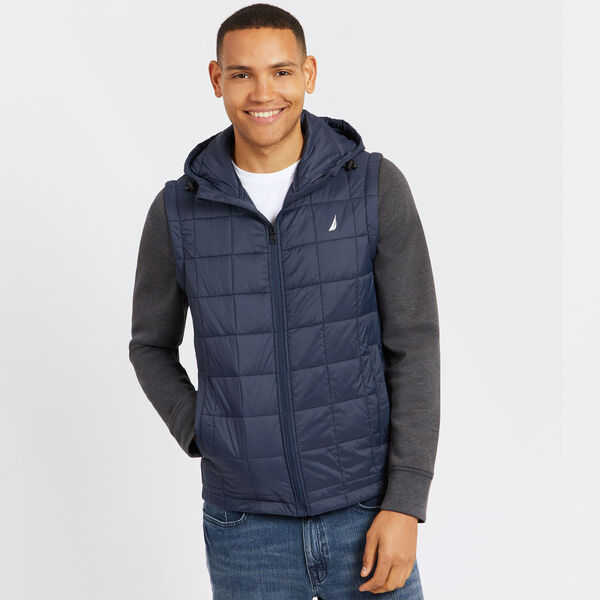 Quilted Jacket With Detachable Sleeves - Navy