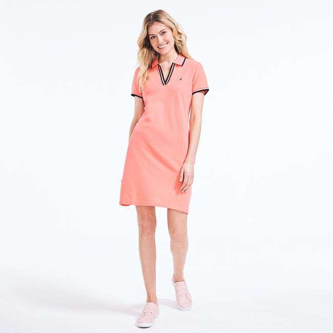SUSTAINABLY CRAFTED SPLIT-NECK POLO DRESS,Sugar Coral,large