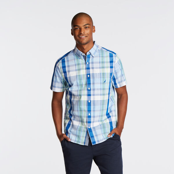 CLASSIC FIT SHORT SLEEVE SHIRT IN PASTEL PLAID - Silver Lake Blue