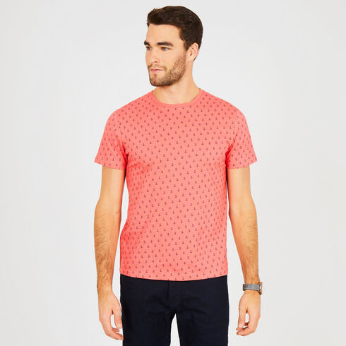 Big & Tall Anchor Motif Crewneck Tee - Dreamy Coral