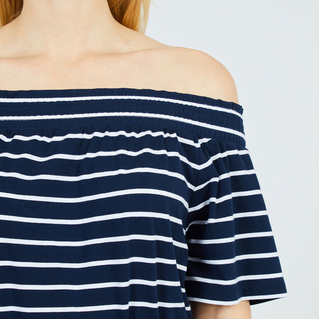 Striped Off-the-Shoulder Dress,Deep Sea,large