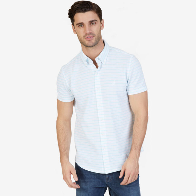 Big & Tall Oxford Piqué Classic Fit Button Down,Sapphire/Pitch Yellow,large