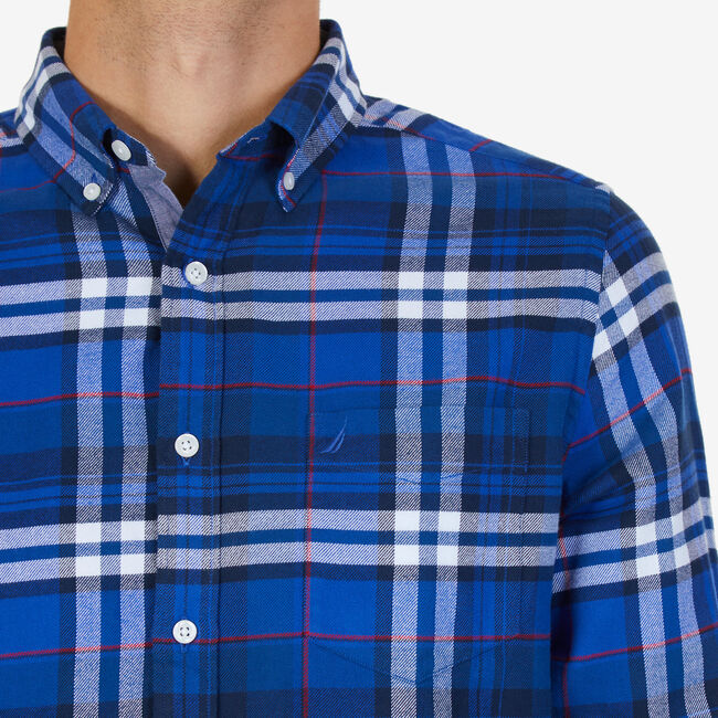 Casual Classic Fit Flannel Twill Plaid Button Down,Peacoat,large