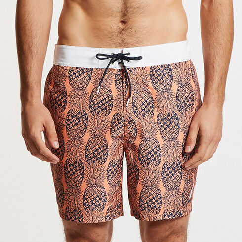 Half-Elastic Swim Trunks in Pineapple Print - Orange
