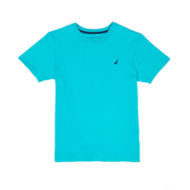 Boys' Strait Anchor V-Neck Solid Tee (8-20),Delphinium Blue,large