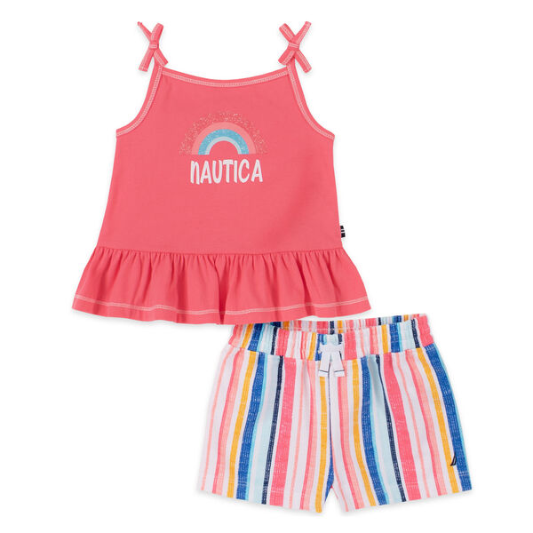 TODDLER GIRLS' BOW-ACCENTED GRAPHIC SLEEVELESS TOP 2PC SHORT SET (2T-4T) - Pink