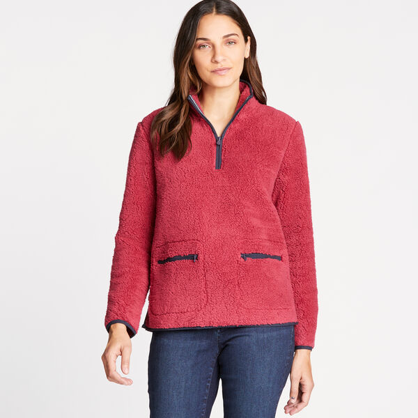 SHERPA QUARTER-ZIP FLEECE PULLOVER - Pale Coral