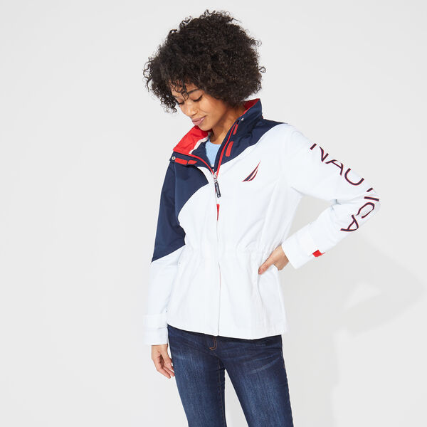 COLORBLOCK HOODED JACKET - Bright White