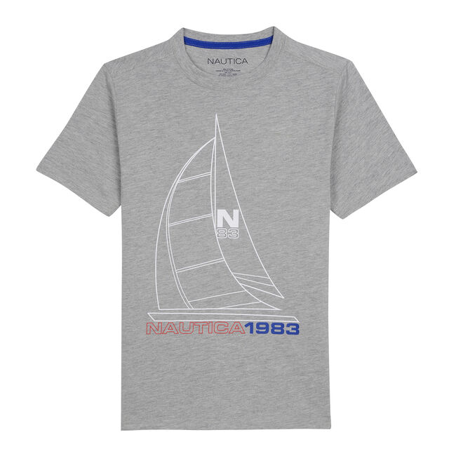 BOY'S CHIP GRAPHIC TEE,Grey Heather,large