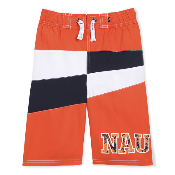 LITTLE BOYS' KAHU SWIM TRUNK IN COLORBLOCK (4-7) - Cutty Orange