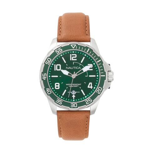 Pilot House Leather Watch - Green Dial - Forest Green