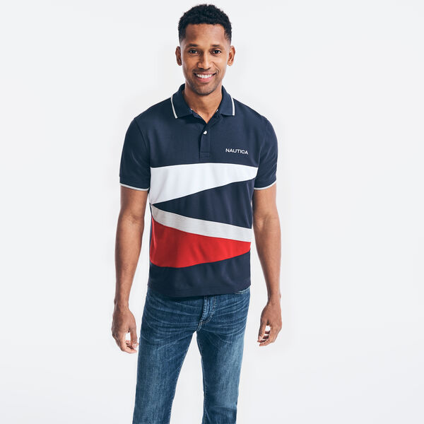 NAVTECH CLASSIC FIT DIAGONAL COLORBLOCK POLO - Navy