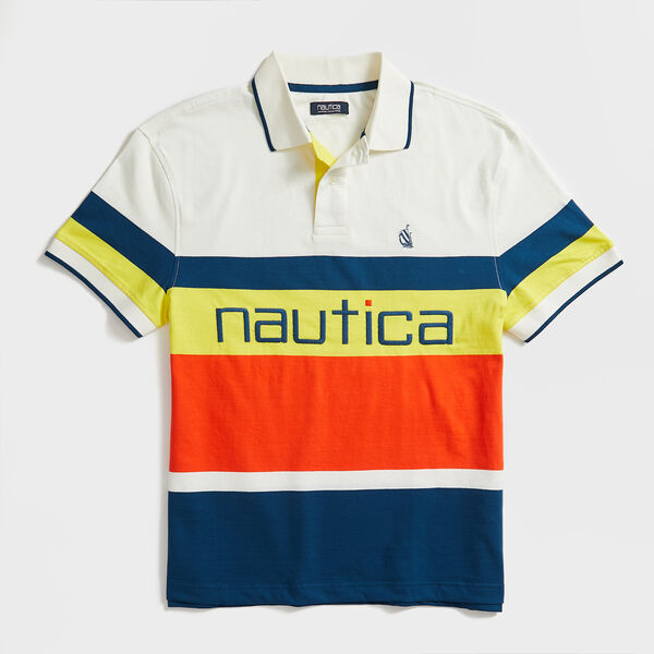 COLORBLOCK STRIPE SPINNAKER POLO - White