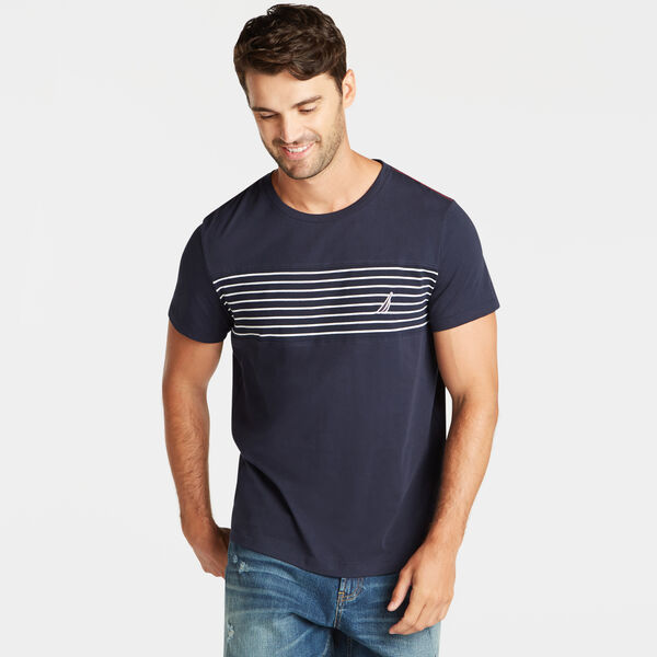 CREWNECK T-SHIRT IN CHEST STRIPE - Navy