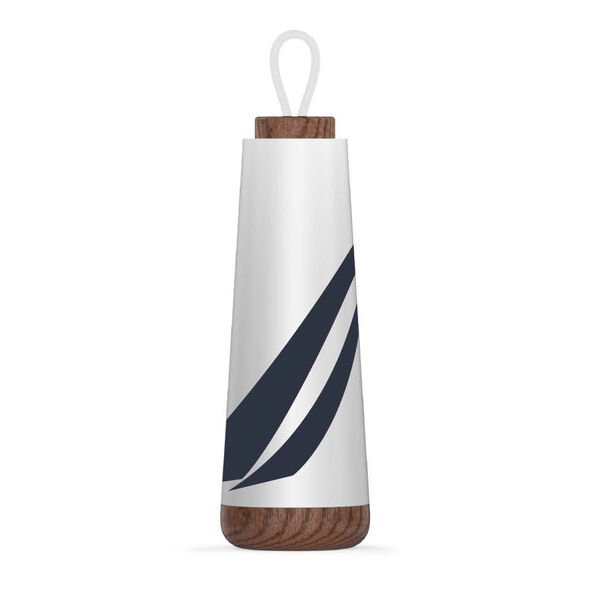 J-CLASS STAINLESS STEEL AND ACACIA WOOD WATER BOTTLE - Antique White Wash