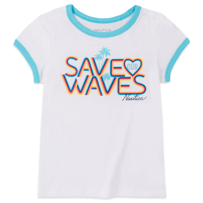 GIRLS' SAVE OUR WAVES FOIL GRAPHIC T-SHIRT (8-16),Antique White Wash,large