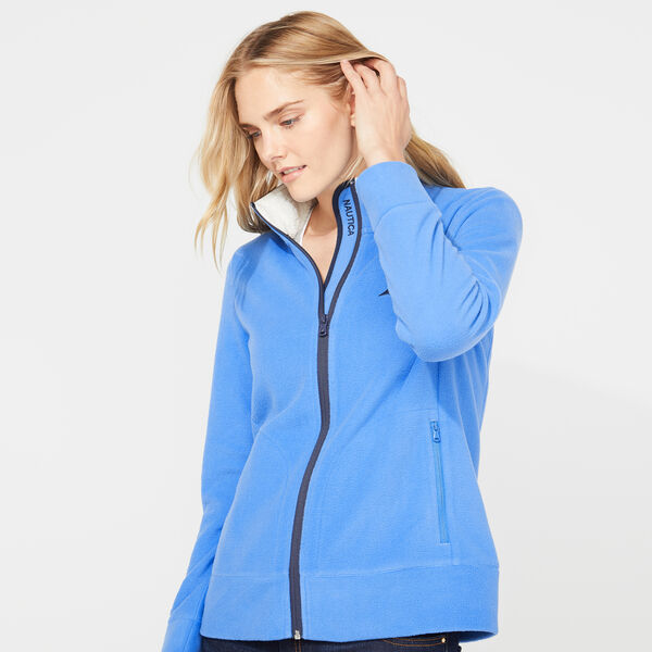 FULL ZIP NAUTEX FLEECE JACKET - Distressed Blue Wash