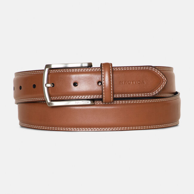 DOUBLE-STITCH LEATHER BELT  ,Brown Stone,large