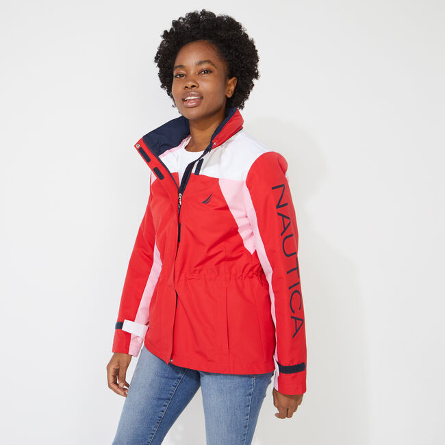 COLORBLOCK LOGO HOODED JACKET,Tomales Red,large