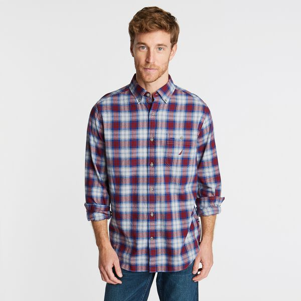 BIG & TALL PLAID SHORT SLEEVE SHIRT - Zinfandel