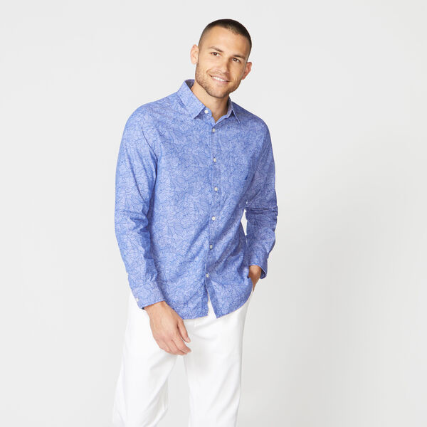 CLASSIC FIT TONAL FLORAL PRINT CHAMBRAY SHIRT - Windsurf Blue