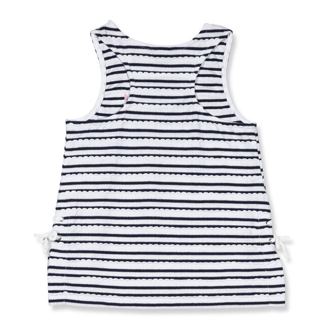 Little Girls' Scallop Lace Up Tank (4-6X),Navy,large