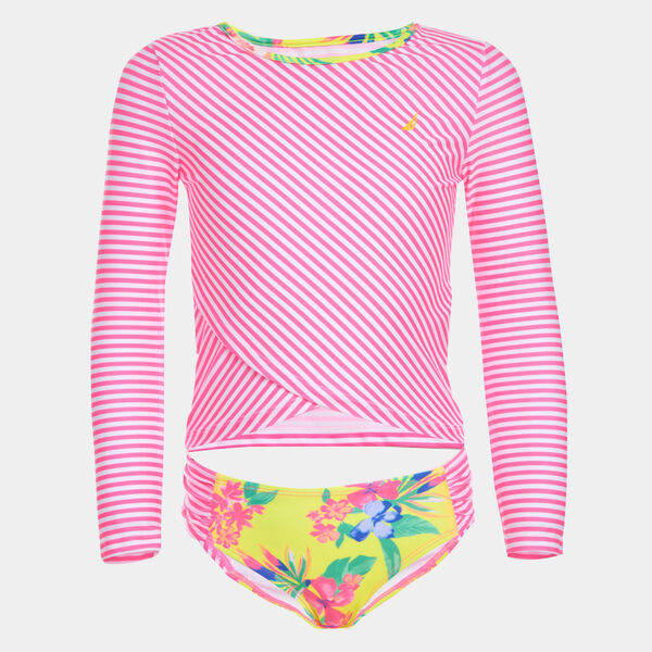 LITTLE GIRLS' FLORAL STRIPE RASH GUARD (4-7) - Lt Pink