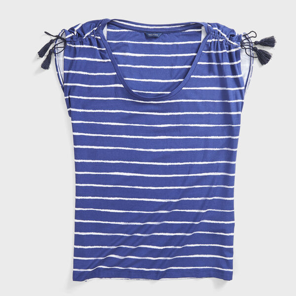 STRIPE TASSEL-DETAIL KNIT TOP - Blue Depths