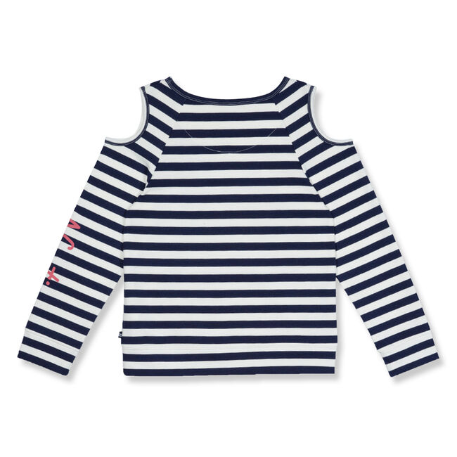 Toddler Girls' Cold Shoulder Striped French Terry Top (2T-4T),Navy,large