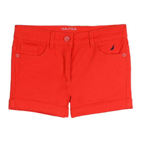 Girls' Stretch Twill Shorts - Lobster Red
