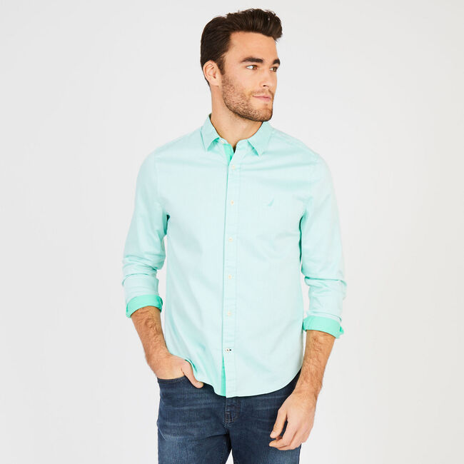 Solid Stretch Twill Long Sleeve Slim Fit Button Down,Mist Green,large