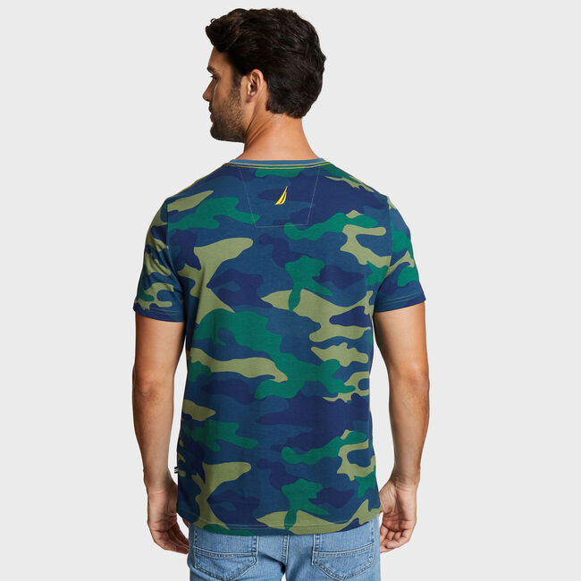 Big & Tall Camo N-83 T-Shirt,Lakeside Blue Wash,large