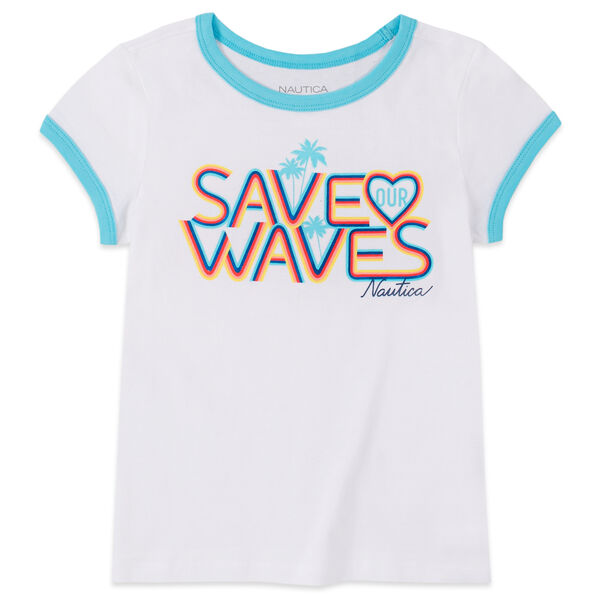 LITTLE GIRLS' SAVE OUR WAVES FOIL GRAPHIC T-SHIRT (4-7) - Antique White Wash