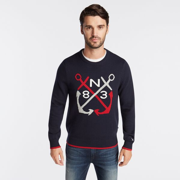 N83 INTARSIA-KNIT GRAPHIC SWEATER - Navy