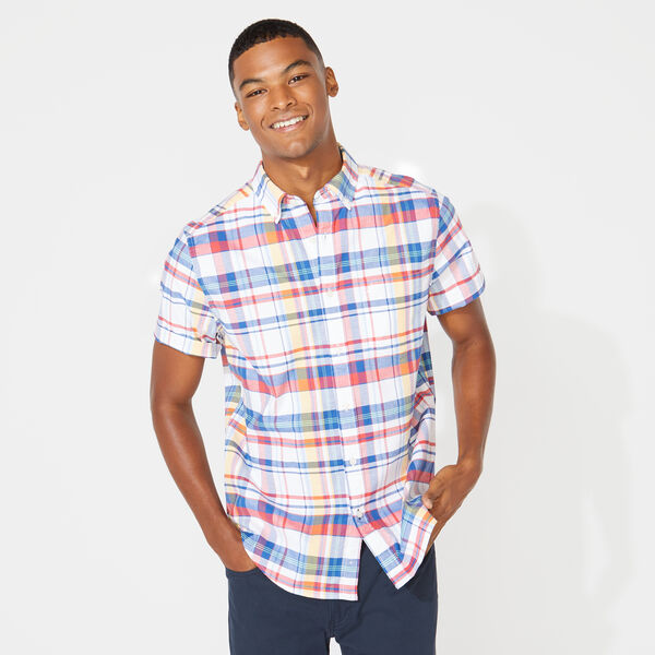 CLASSIC FIT PLAID OXFORD SHIRT - Bright White