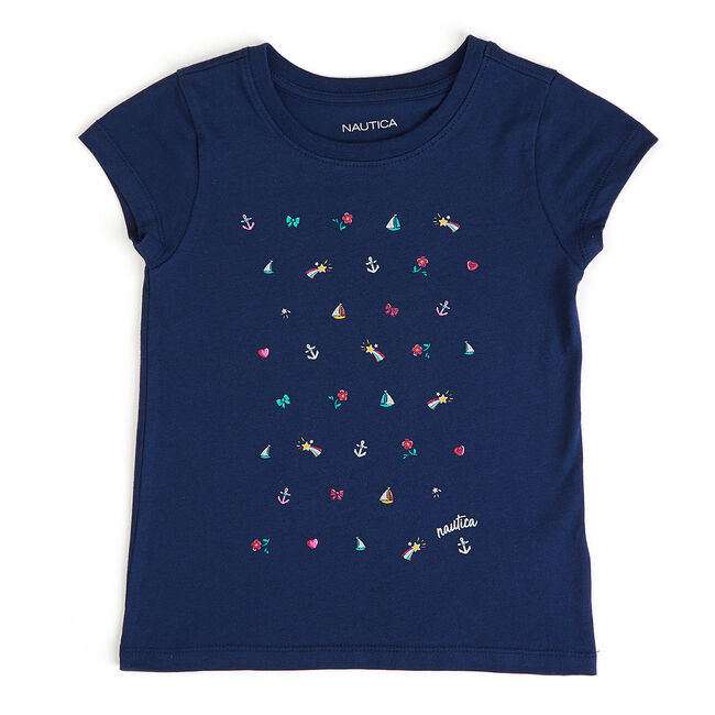 Little Girls' Icon Printed Glitter Tee (4-6X),Pure Dark Pacific Wash,large