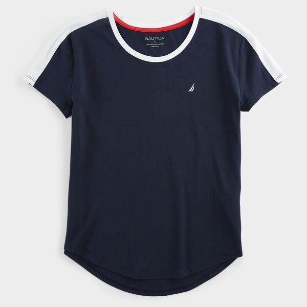 COLORBLOCK J-CLASS SPORTY RINGER TOP - Stellar Blue Heather