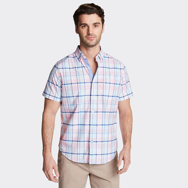 CLASSIC FIT SHORT SLEEVE OXFORD SHIRT IN PLAID - Orchid Pink