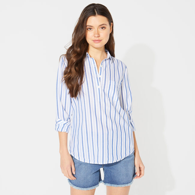 NAUTICA JEANS CO. STRIPED POPOVER SHIRT,Ocean Depth Heather,large