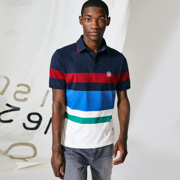 NAUTICA JEANS CO. COLORBLOCK STRIPE RUGBY - Navy