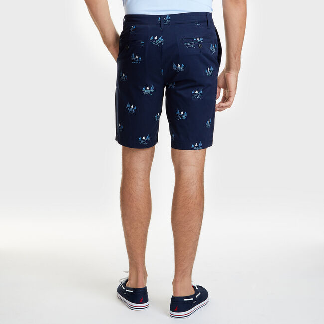 "Sailboat Slim Fit Flat Front Shorts - 9.5"" Inseam,Navy,large"