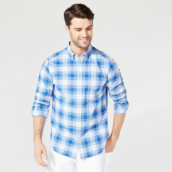 CLASSIC FIT PLAID BUTTON-DOWN SHIRT - Varsity Blue Wash