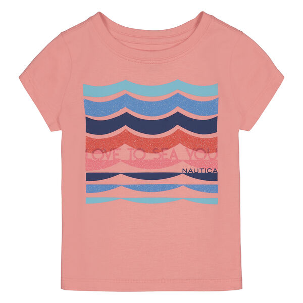 TODDLER GIRLS' LOVE TO SEA YOU GLITTER GRAPHIC T-SHIRT (2T-4T) - Zinfandel