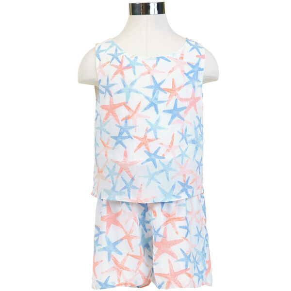 Girls' Starfish Motif Romper (8-16) - Sail White
