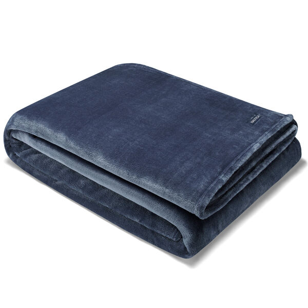 CAPTAINS ULTRA SOFT PLUSH KING BLANKET IN BLUE - Navy