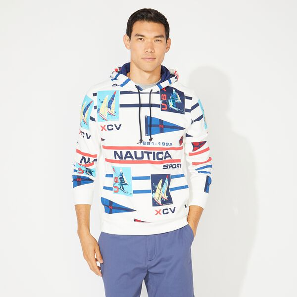 CLASSIC FIT PRINTED PULLOVER HOODIE - Sail White