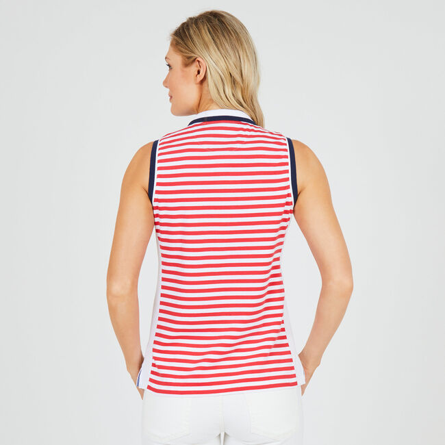 Classic Fit Side Panel Striped Polo,Buoy Red,large